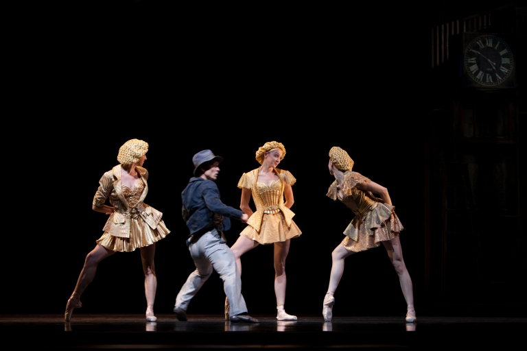Golden Girls (Elle Macy, Sarah Pasch and Chelsea Adomaitis) with James Moore in Twyla Tharp's Waiting at the Station. Photo by Angela Sterling.