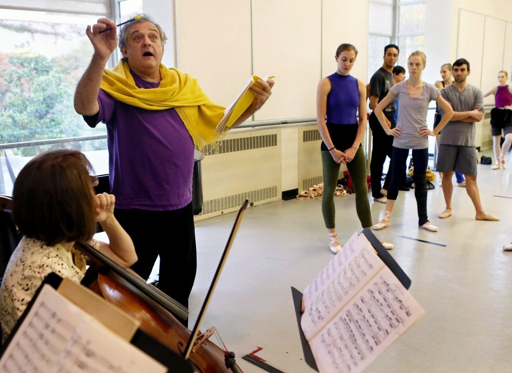 """Choreographer Mark Morris leads musicians during rehearsal for his new """"Kammermusik No. 3,"""" his first piece for PNB in more than 30 years. Photo curtesy of The Seattle Times."""