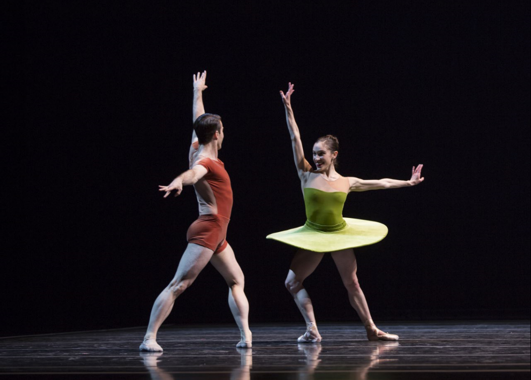 """Leta Biasucci and Benjamin Griffiths in """"The Vertiginous Thrill of Exactitude."""" Photo by Angela Sterling; choreography by William Forsythe."""