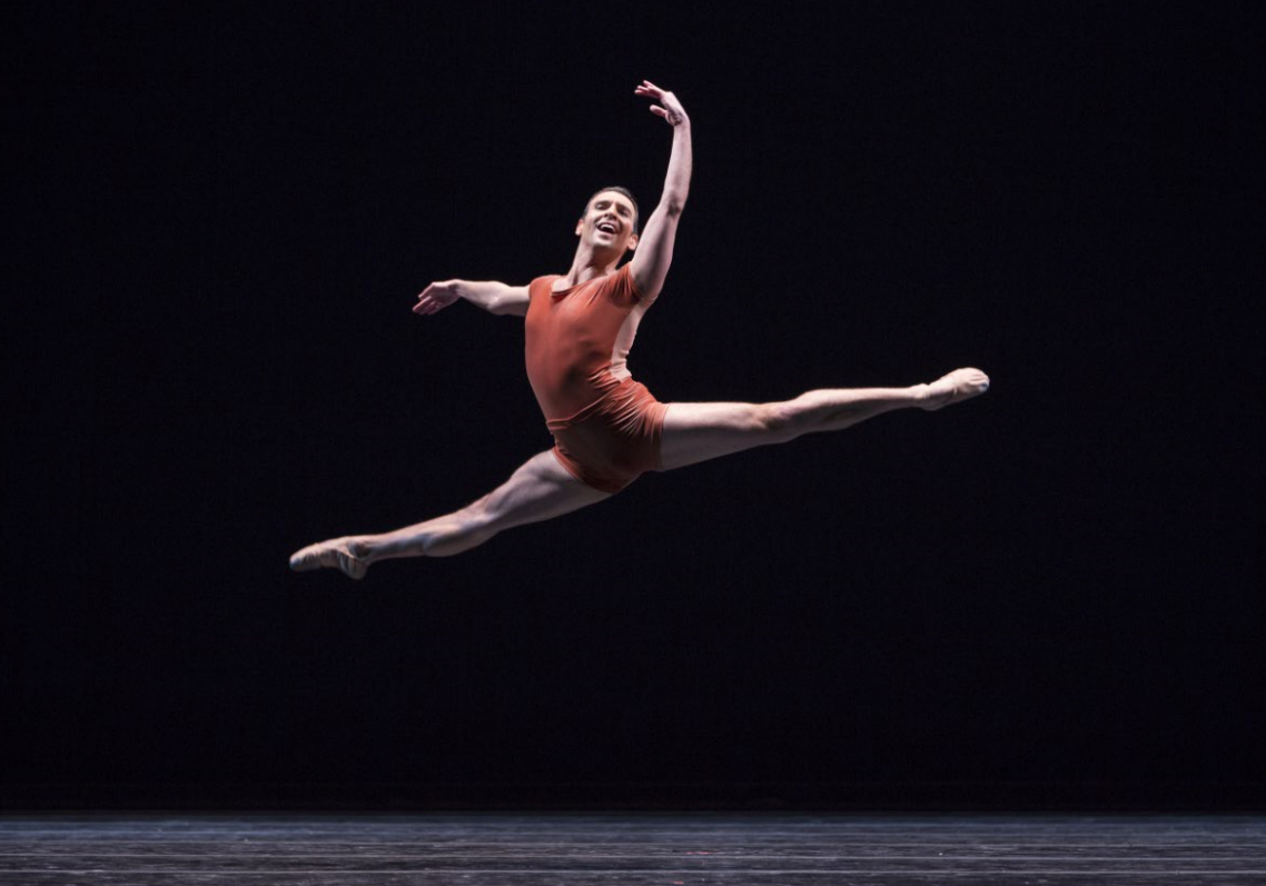 """Jonathan Porretta in """"The Vertiginous Thrill of Exactitude."""" Photo by Angela Sterling; choreography by William Forsythe."""