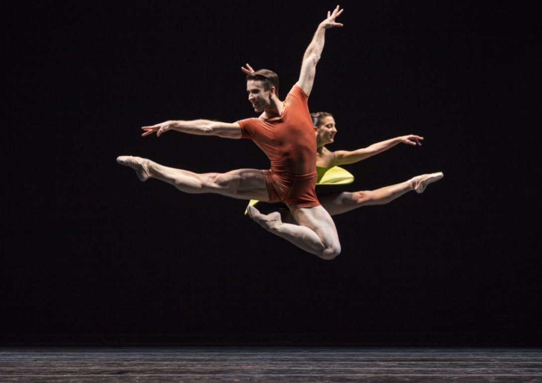 """Benjamin Griffiths and Carrie Imler in """"The Vertiginous Thrill of Exactitude."""" Photo by Angela Sterling; choreography by William Forsythe."""