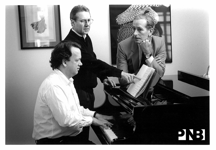PNB Founding Artistic Director Kent Stowell with Conductor Allan Dameron and former Principal Conductor Stewart Kershaw. © PNB Archives