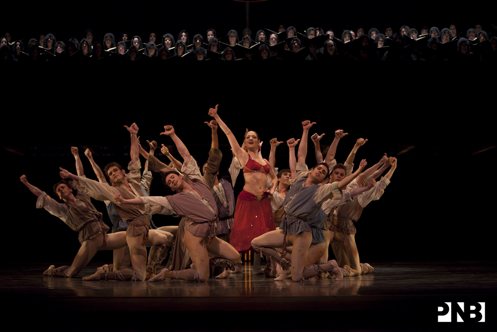 PNB Principal Carrie Imler, Company dancers, and chorus in Kent Stowell's Carmina Burana. © Angela Sterling