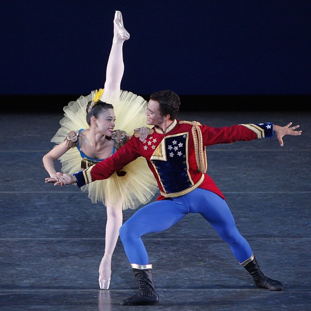 """Angelica Generosa and Taylor Stanley in """"Stars and Stripes"""" from the 2009 Workshop Performances. Photo by Paul Kolnik; choreography by George Balanchine © The George Balanchine Trust."""