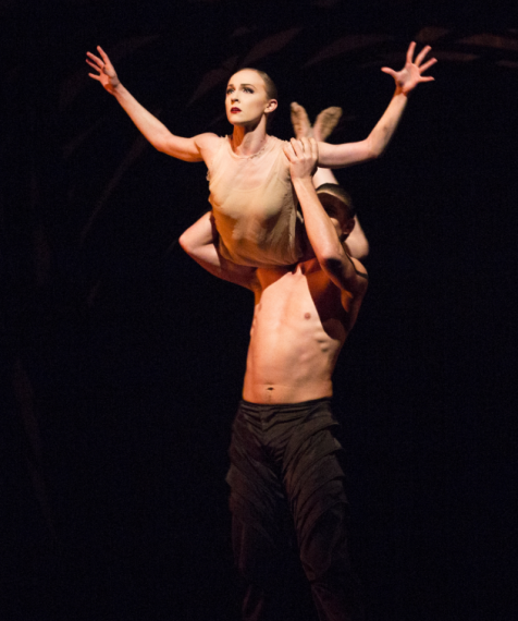 "Margaret Mullin and Joshua Grant in ""Emergence."" Photo by Angela Sterling; choreography by Crystal Pite."