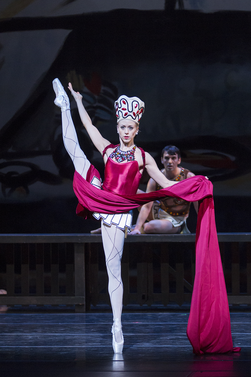 """Lesley Rausch as the Siren in Balanchine's """"Prodigal Son."""" Photo by Lindsay Thomas."""