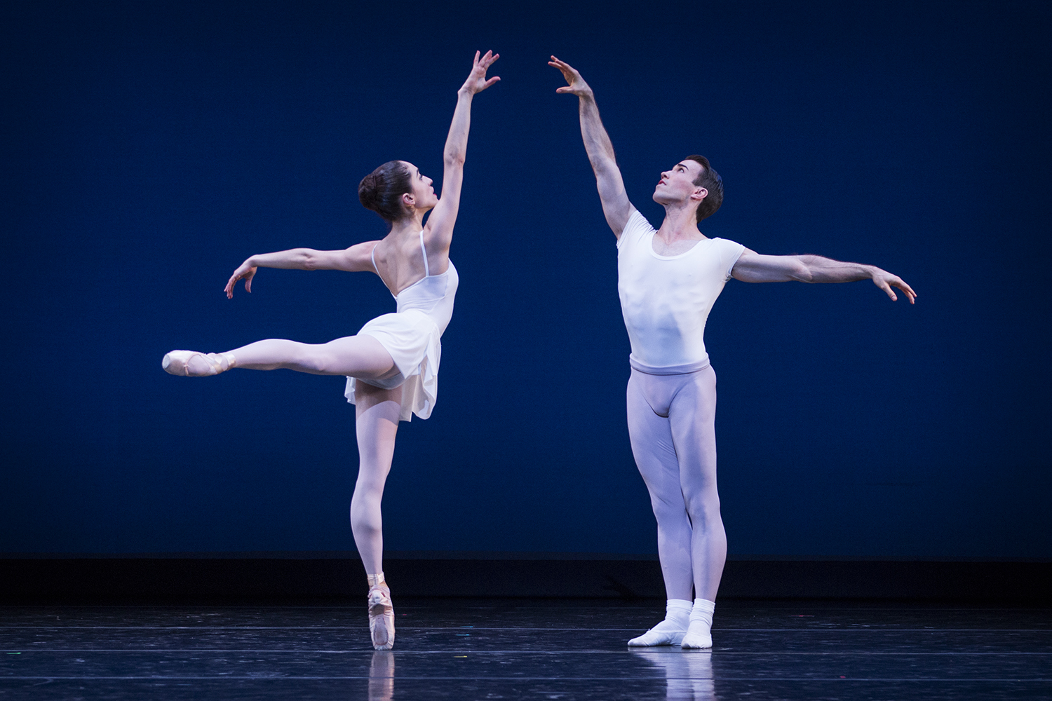 """Leta Biasucci and Benjamin Griffiths in Balanchine's """"Square Dance."""" Photo by Lindsay Thomas."""