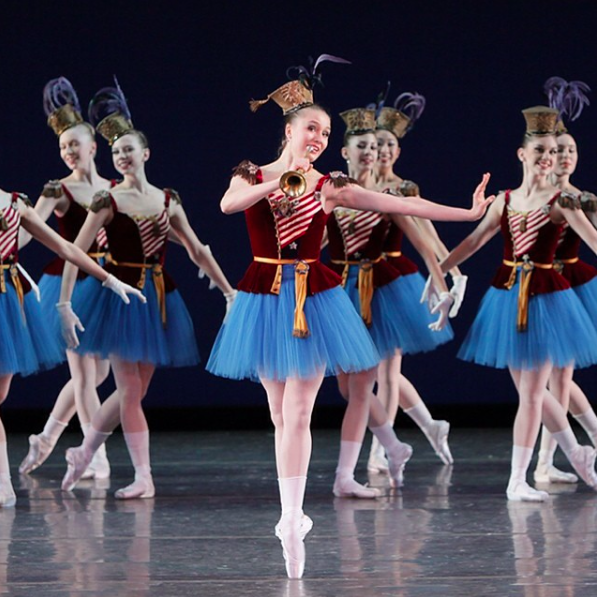 """""""Stars and Stripes"""" from the 2009 Workshop Performances. Photo by Paul Kolnik; choreography by George Balanchine © The George Balanchine Trust."""