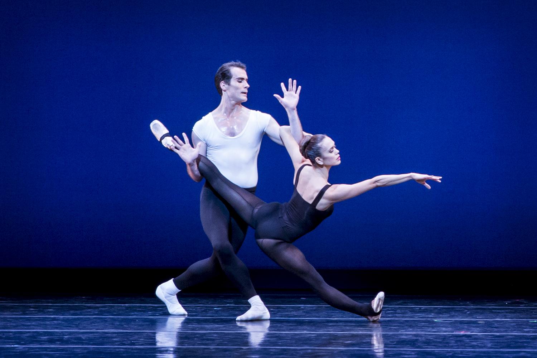 """Noelani Pantastico and Seth Orza in Balanchine's """"Stravinsky Violin Concerto."""" Photo by Lindsay Thomas."""