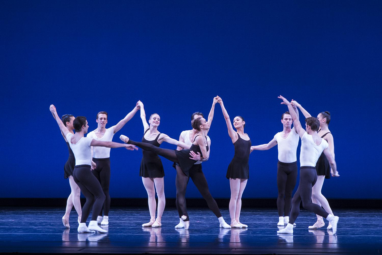 "Noelani Pantastico (arabesque) in Balanchine's ""Stravinsky Violin Concerto."" Photo by Lindsay Thomas."