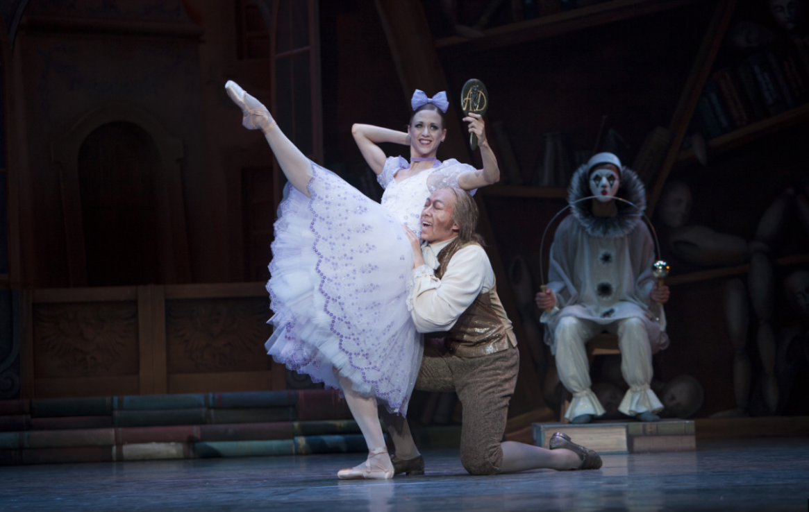 """Lesley Rausch as Swanhilda & William Lin-Yee as Dr. Coppelius in George Balanchine's """"Coppélia."""" Photo by Angela Sterling."""