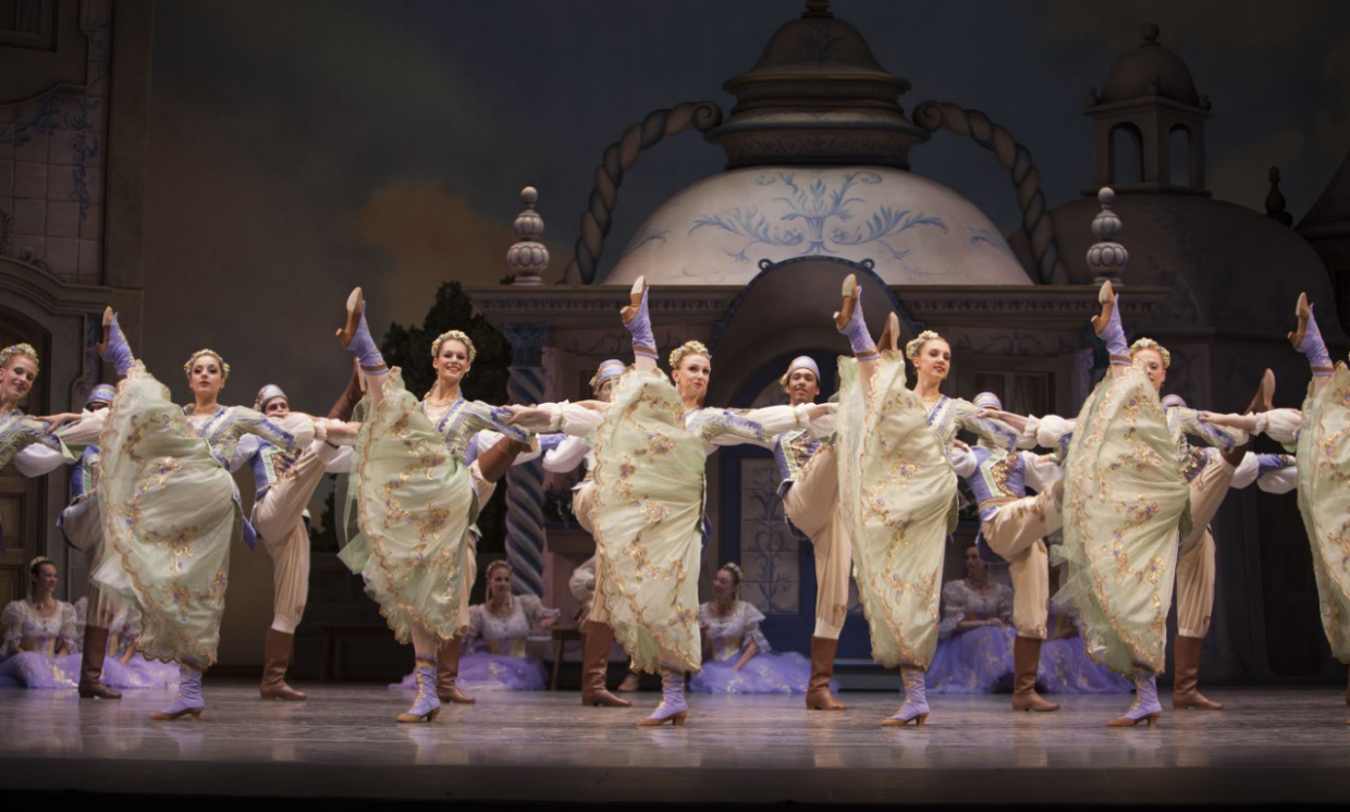 """Villagers in George Balanchine's """"Coppélia."""" Photo by Angela Sterling."""