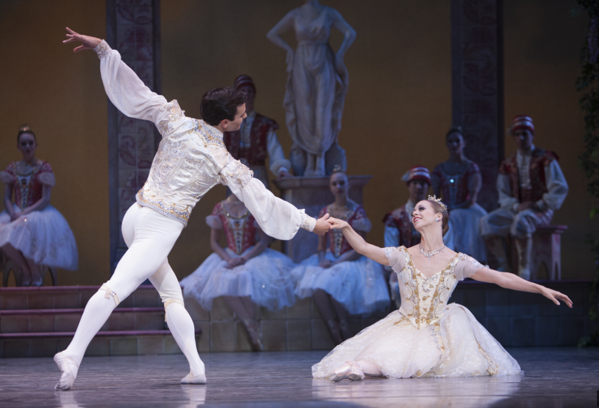 """Lesley Rausch as Swanhilda & Jerome Tisserand as Frantz in George Balanchine's """"Coppélia."""" Photo by Angela Sterling."""