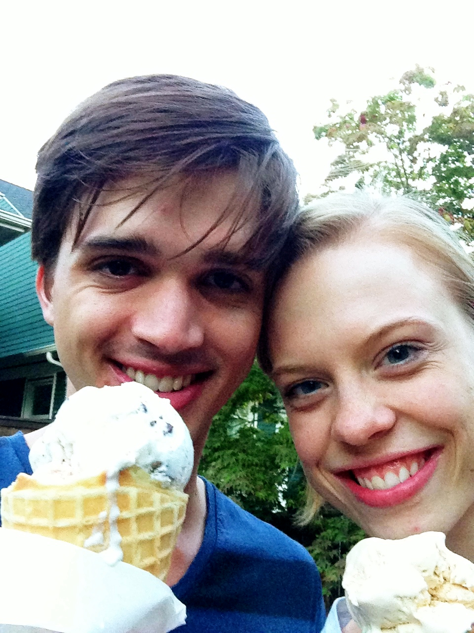 Price & Emma Love Suddarth with their Molly Moon's ice cream.