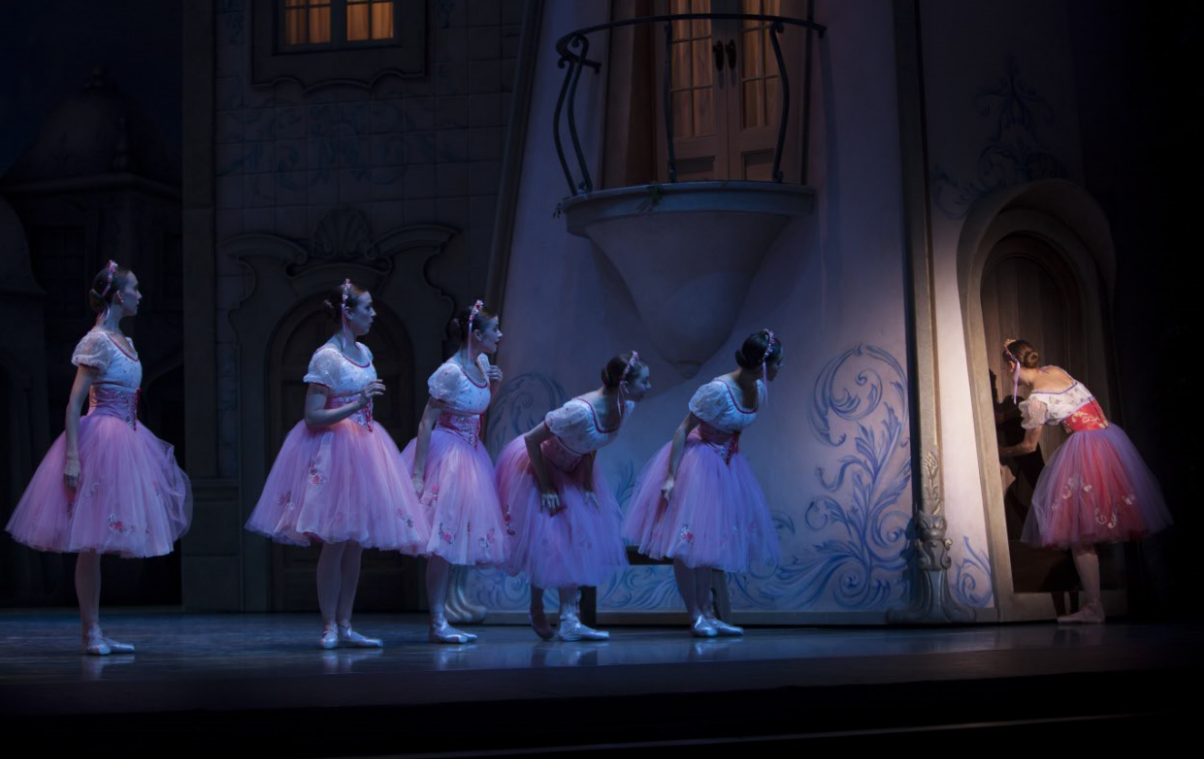 """Sneaking into Dr. Coppelius' Workshop  in George Balanchine's """"Coppélia."""" Photo by Angela Sterling."""
