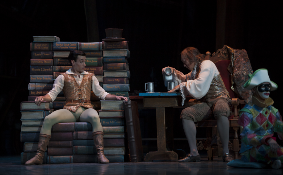"""Jerome Tisserand as Frantz & William Lin-Yee as Dr. Coppelius in George Balanchine's """"Coppélia."""" Photo by Angela Sterling."""