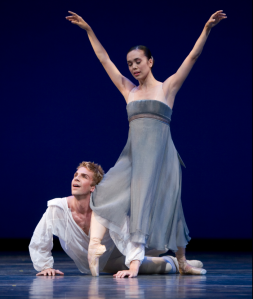 """Lucien and N in """"Romeo et Juliette."""" Photo by Angela Sterling; choreography by Jean-Christophe Maillot."""