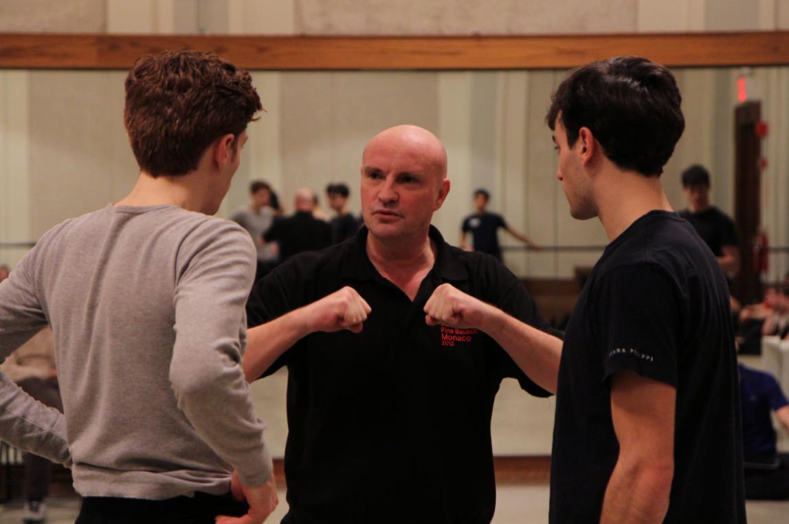 Jean-Christophe Maillot rehearsing PNB dancers. Photo by Lindsay Thomas.