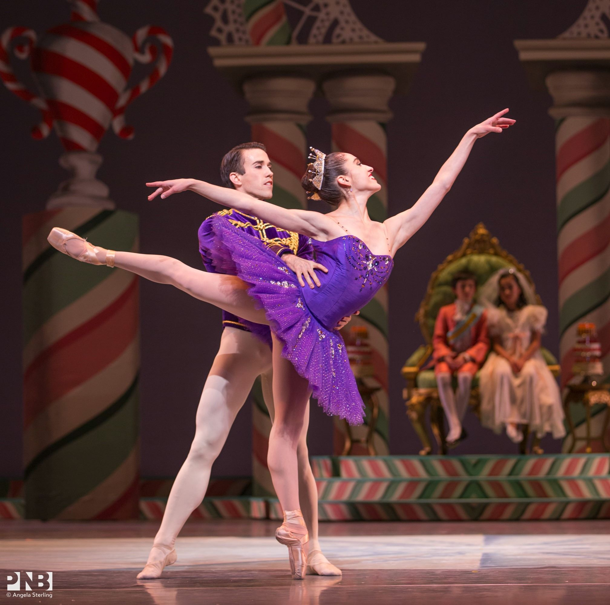 Benjamin Griffiths and Leta Biasucci in George Balanchine/Ian Falconer's The Nutcracker. Photo by Angela Sterling.