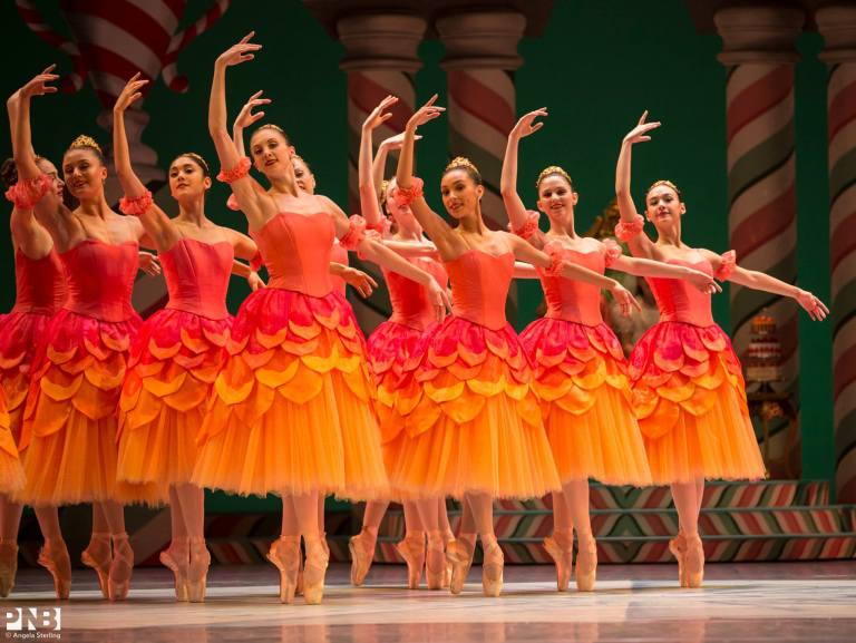 PNB Dancers in Waltz of the Flowers in George Balanchine/Ian Falconer's The Nutcracker. Photo by Angela Sterling.