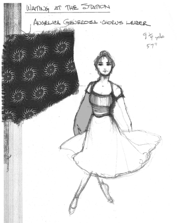 """Generosa"" sketch by Designer, Santo Loquasto for Twyla Tharps' Waiting At The Station. Photo © Lindsay Thomas."