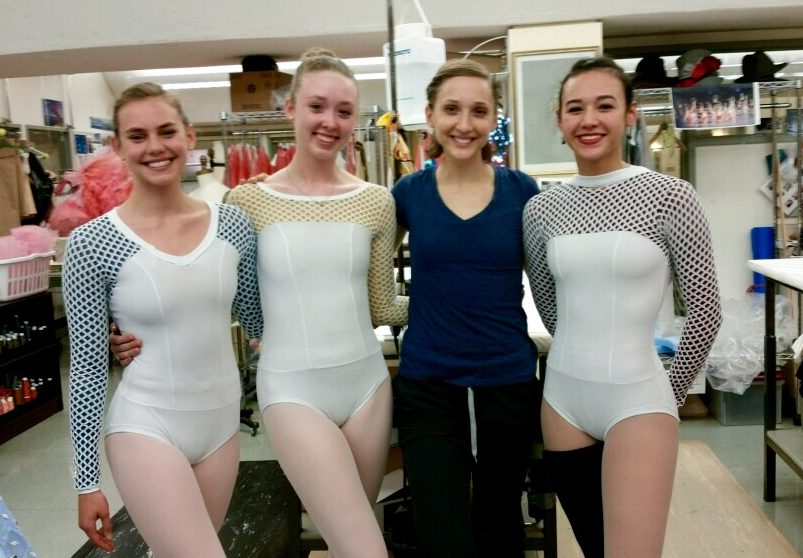 Elizabeth Murphy and PD Dancers with her costume designs for Kyle's NEXT STEP piece.