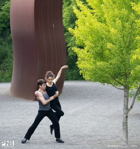 Leta Biasucci and Benjamin Griffiths with Richard Serra's Wake.