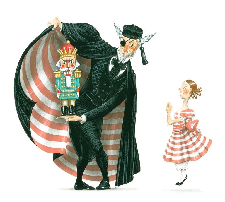 1. Drosselmeier, Clara and Nutcracker sketch by Ian Falconer 2014