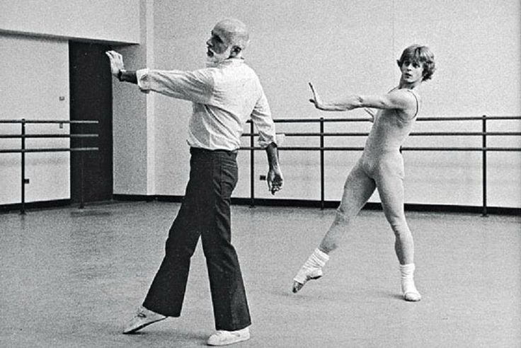 Other Dances - Jerome Robbins rehearsing Mikhail Baryshnikov - photo by Martha Swope