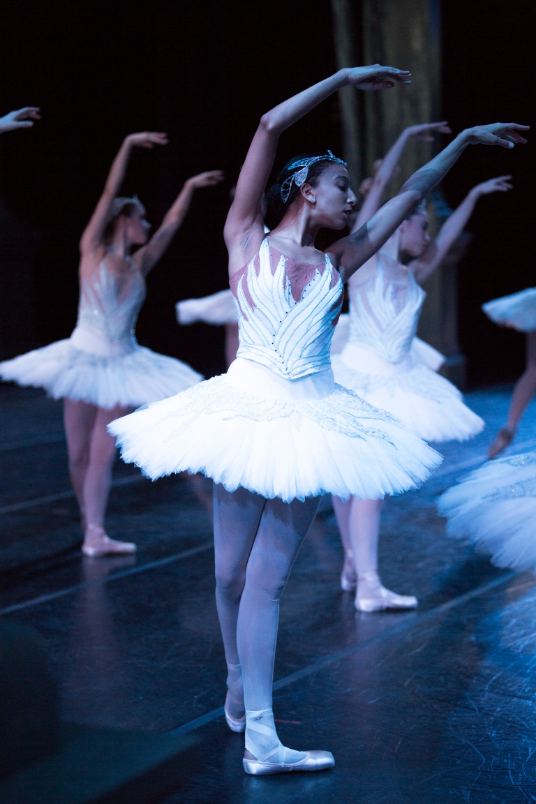 PNB dancer Amanda Morgan onstage as a swan in Kent Stowell's Swan Lake. Photo © Lindsay Thomas